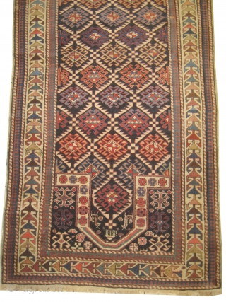 Shirvan prayer Caucasian, knotted circa in 1918, antique, collectors item, 100 x 200 cm, carpet ID: BRDU-2
