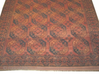 Ersari Turkmen, knotted circa in 1870, 270 x 348 cm,  carpet ID: LUB-3 The knots, the warp and the weft threads are hand spun wool. The black color is oxidized, allover geometric  ...