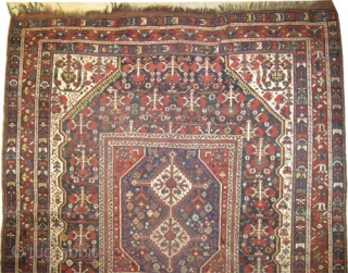 "Shiraz Khamse Persian, circa 1905, antique. High standard collector's item. Size: 197 x 173 (cm) 6' 6"" x 5' 8""  carpet ID: K-3228 