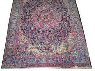 Dorosh Persian, knotted circa in 1918, antique, 280 x 368 cm, carpet ID: P-5840 The knots are hand spun lamb wool, in good condition except one corner has damaged places, the background is  ...