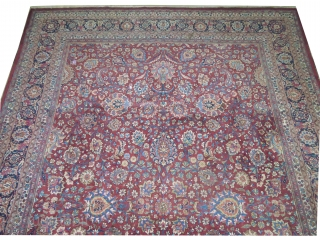 Birdjend Persian signed and old, 456 x 332 cm, carpet ID: MAM-3 The knots are hand spun wool, the background is warm rust, allover floral design, thick pile in perfect condition.