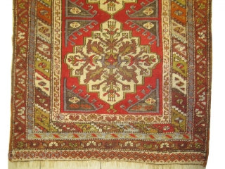 Maden Turkish rug, circa 1908, size: 99 x 133cm, Carpet ID: BDI-15 The background is rust with two medallions, the black color is oxidized, the warp and the weft threads are 100% wool,  ...