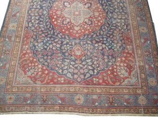 """Tabriz Persian circa 1925, Size: 390 x 290 (cm) 12' 9"""" x 9' 6""""  carpet ID: P-4381 Vegetable dyes, the black color is oxidized, the knots are hand spun wool, the background  ..."""