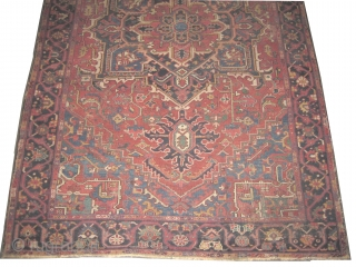 "Heriz Serapi Persian circa 1905 antique. Collector's item, Size: 340 x 217 (cm) 11' 2"" x 7' 1""  carept ID: P-5207