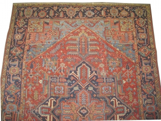 """Serapi Heriz Persian circa 1910 antique. Size: 232 x 316 (cm) 7' 7"""" x 10' 4""""  carpet ID: P-6096 Vegetable dyes, the black color is oxidized, the knots are hand spun wool,  ..."""