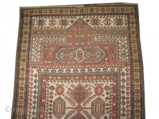 "Karatchoph Caucasian circa 1905 antique. Size: 236 x 150 (cm) 7' 9"" x 4' 11""  carpet ID: V-154 vegetable dyes, the black color is oxidized, the knots are hand spun wool, the  ..."