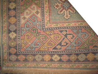 """Karagashli Caucasian old. Size: 142 x 87 (cm) 4' 8"""" x 2' 10""""  carpet ID: OZ-1 At the center certain places the pile is slightly used, the background color is sky blue  ..."""