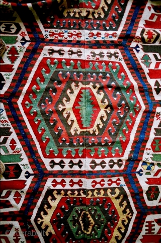 Hotamish white ground kilim from Central Anatolia, no repairs, good match along center, a 1850, 2 or 3 tiny weft breaks, sturdy piece, approx 5 x 11 feet (152 x 333 cm).  ...