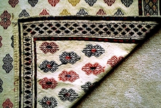 Central Anatolia flatwoven brocaded door hanging with original loops at upper two corners. Clear jewel tones with vegetal dyes on fine handspun cotton ground, approx. 5 x 5 feet (152 x 150  ...