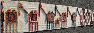 Available...Complete Central Asian tent band with graphic caravan imagery, mature and young camels, with attendants, 1.2x42.9 feet (1,070x31 cms), late 19c. Unusual authentic collector piece. According to Tsareva, it is Uzbek, while  ...