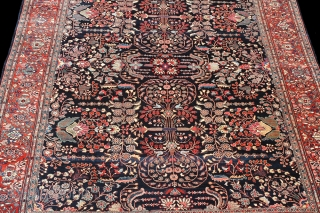 """Superb condition and serenely Beautiful 1900 Persian Fereghan Sarouk 10'3"""" x 13', in absolutely perfect condition with full pile everywhere, the original sides and flat-woven kelim at the bottom end! Unparalleled natural  ..."""
