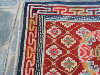 cm. 298 by 81 cm. is the size of this antique long runner knotted in TIBET-HIMALAYA.