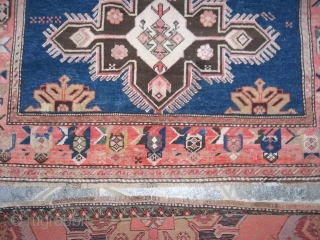 400 x 133 cm .  = ft. 13.12 x ft. 4.36. is the size of this antique Karabagh Lampa village. In very good condition. Original pattern.