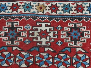 266 x 134 cm.  ANTIQUE CAUCASUS KUBA  TCHI-TCHI Kurdangool border.