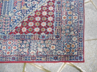 216 X140  CM. IS THE SIZE OF THIS ANTIQUE PERSIAN CARPET. KNOTTED IN THE CITY OF TEHERAN. FULL PILE, ANY RESTORS OR REPILS OR STAINS. VERY GOOD THE CONDITION OF THIS CARPET, HAND MADE  ...