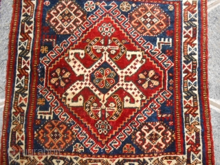 58x61 cm about for each piece. A pair of QASHQA'i bagface antique.(khordjin)  Perfect condition. All natural dyes. Wool on wool with attached kilims   Other info or photos on request. Good look! Best wishes from lake of COMO
