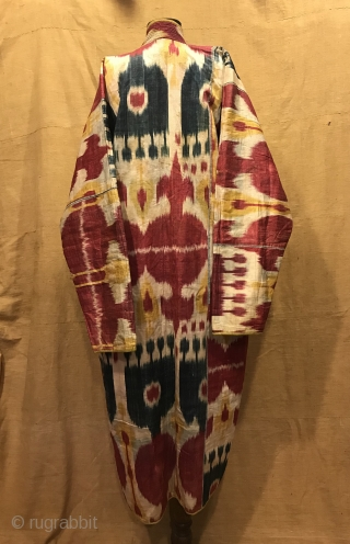 Uzbek Vintage silk ikat chapan clothes