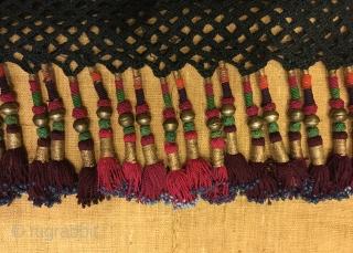 "Uzbek silk tassel ethnic and tribal collectible accessories tassel  Size: 190 cm x 18 cm Tassel height: 8 cm  100% handmade  VINTAGE UZBEK TASSELS : ""Segusha""( Triangle) is a decorative embellishments, whose function, was to decorate the  ..."