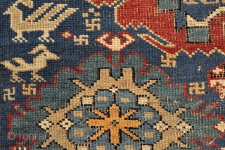 Caucasian Kuba rug in mostly good pile, some areas showing foundation, black corrosion, original selvages in good shape, some fuchsine colors, priced to move quick. - 3'8 x 5'4 - 110 x  ...