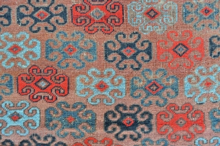 Super funky Unusual Khorossan Baluch Rug, symmetrically knotted, great range of colors including a bright saturated red that also seems to be natural, rug washed and no color run or fading. 3'6  ...