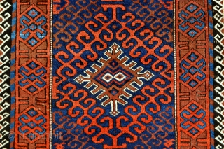Baluch rug with beautiful colors in great condition bar small repair on the selvage - 3'0 x 6'7 - 92 x 200 cm.