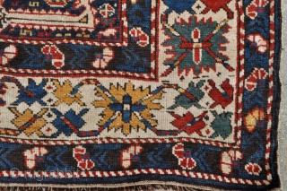 Funky Antique Afshan Kuba rug - 3'6 x 5'1 - 106 x 155 cm. Has old repairs, offered as found.