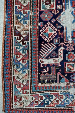 Caucasian Bird Akstafa rug - 4'2 x 8'10 - 127 x 269 cm. - offered as found at a reasonable price.