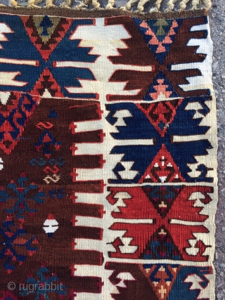 Sometimes it is All in the details! Southeast Anatolian Kilim with incredibly beautiful and varied saturated natural colors, lots of fun tribal filler motifs, some metal tread highlights and many interesting features.  ...