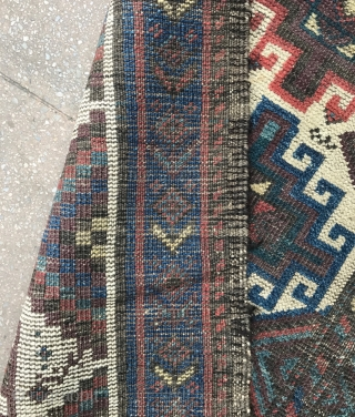 A white Memling Carpet , Baluchistan , Circa 19th , size : 196x97cm.