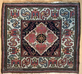 Beautiful and colorful Kurdish bag face from Northwest Persia , circa 19th, size :  68x63cm