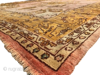 Ushak / Oushak main carpet.  Interesting design/layout.  In decent overall condition for the age- with some wear/thin spots and end loss- see photos- or request more/ask condition related questions.   ...