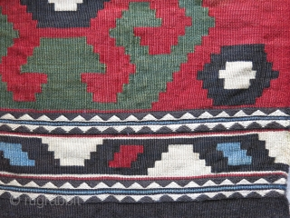 """Shahsavan bedding bag end panel. kilim and sumak weave. Very minor couple repairs. Size: 23"""" By 22"""" - 58 cm X 56 cm"""