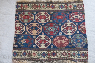 """Shahsavan Reverse sumak mafrash end panel with great patina and natural colors. size :  18"""" X 15"""" - 46cm X 38 cm"""
