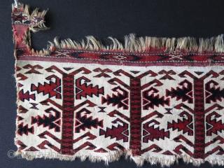 """Turkmen Tekke Ak Chuval fragment. Circa late 19th century. Size: 7.8"""" x 33.4"""" - 20 cm x 85 cm."""