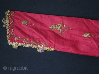 """Ottoman Silk and metallic embroidered Uc Etek. Some damages on skirt, arms and neck area. Size: Height 57""""- 145 cm x Arms spread out 61.8""""- 157 cm."""