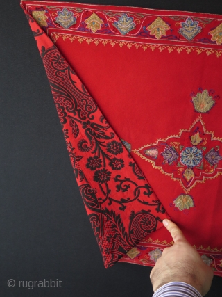 "Persian Rasht. Silk embroidery on wool felt & banat. Size: 20.5"" x 28"" - 52 cm x 72 cm."