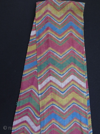 "Turban wrap from Jodphur, Rajasthan India. Tie and dye technique, pure cotton + some gold metallic yarns on one end. Size: 5.5"" x 176.3"" - 14 cm x 448 cm."