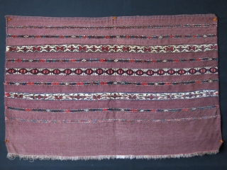 "Turkmen Yomud Chuval, symmetrical knotted pile and flat weave with goat hair warps, saturated all natural dyes. Circa 1900 or earlier. Size : 43"" X 28.5""  - 109 cm X 72  ..."
