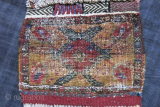 "Persia - Afshar Chanteh, Tribal pile small bag. Lower kilim part restored. Natural colors with good pile. Size : 10"" bt 9"" - 25 cm X 23 cm"