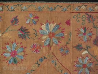 "Bokhara Joynamaz. Silk embroidery on dyed karboz / hand loomed cotton. Saturated natural colors. Size: 31"" x 51"" -79 cm x 130 cm."