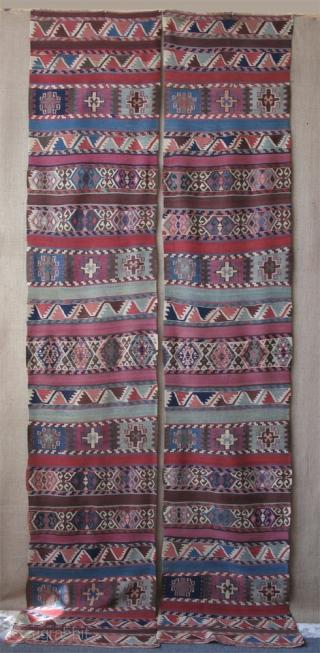 "Maras Elbistan area Kurdish kilim. Size of each panel; 2' 7"" x 12' 8"" - 84 cm x 390 cm."