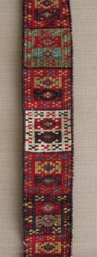 "North Afghanistan Goklan Yomud pile belt for women. It has date written 1330 Hijra - Year 1436 - 1912. Size: 2"" x 36"" - 5 cm x 92 cm."