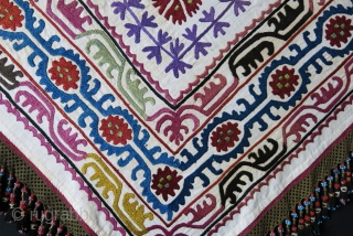 """Kirgizstan Silk embroidery tribal head wear cover. Braided silk tassels.A fe stains very light brown stains from keeping in chest. Circa: 1920 - 1930. size : 37"""" X 34"""" - 3"""" long  ..."""