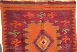 """Antique Turkish Kilim Rug  Circa 1900 size 108 cm 76 cm (108"""" 30""""."""