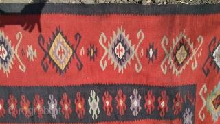 "Turkish Sarkoy Kilim .1900 size 162"" 144"" 412 cm 365 cm"