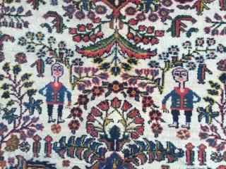 Persian Bakhtiary Kelley, lovely details like men on horses, size: ca. 490x150cm / 16'1''ft x 4'9''ft , age: circa 1920