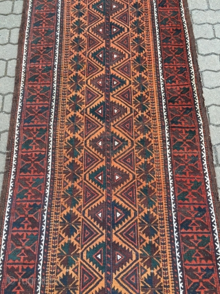rare antique Baluch runner, size: ca 370x93cm / 12'2'' x 3ft