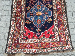 Antique Kurdish tribal runner from Northwest Persia woven on wool foundation. Beautiful saturated colors, very decorative. Size: ca.410x91cm / 13'5''ft x 3'ft Good condition  www.najib.de