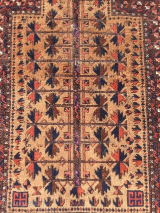 Beautiful antique Baluch prayer rug, nice collectors piece. Size: 140x80cm / 4'6''ft x 2'7''ft