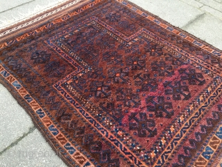 Antique Timuri Baluch prayer rug with glossy wool, size: ca. 125x85cm / 4'1''ft x 2'8''ft
